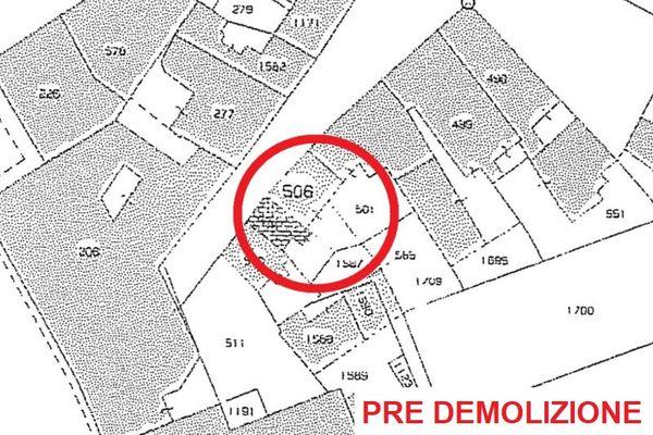 Immagine n2 - Planimetria - Estratto di mappa (pre demolizione) - Asta 1055